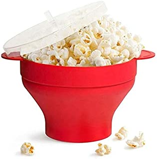 Checkered Chef Microwave Popcorn Maker - Popcorn Popper - Silicone Collapsible Microwave Bowl with Handles and Lid - BPA F...