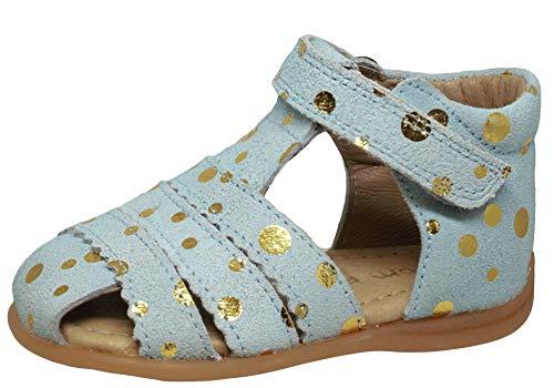 pom pom 6392 Sandalen Lauflernschuhe Blau Gold Punkte, Schuhgröße:EUR 24