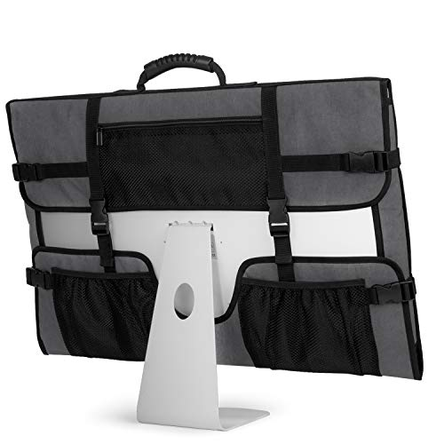 CURMIO Travel Carrying Bag for Apple 27' iMac Desktop Computer, Protective Storage Case Monitor Dust Cover with Rubber Handle for 27' iMac Screen and Accessories, Grey, Patent Design.