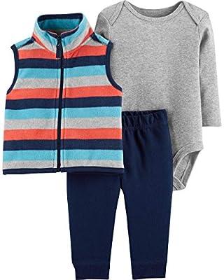 Carter's Baby Boys' Vest Sets (6 Months, Navy/Stripe)