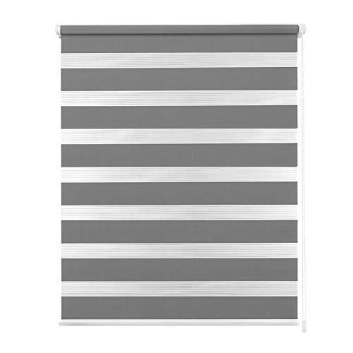 Aufun Doppelrollo Klemmfix Rollos ohne Bohren für Fenster, 100 x 175 cm Klemmrollo Duo Rollo mit Bohren, lichtdurchlässig und verdunkelnd inkl. Zubehör, Grau
