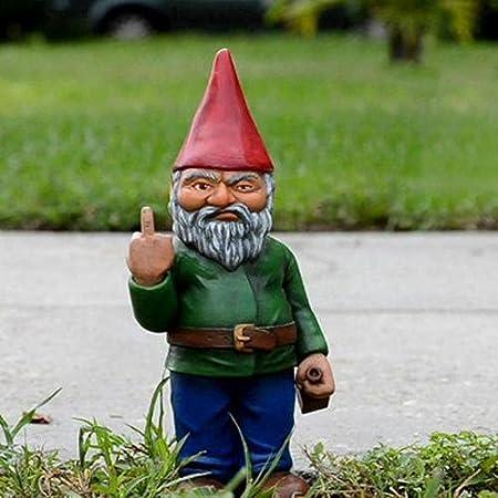 Runsmooth 15 Cm Nain De Jardin Doigt d'honneur - Statue De Gnomes Go Away Ornements De Pelouse De Jardin Drôle, Décorations Intérieures Ou Extérieures