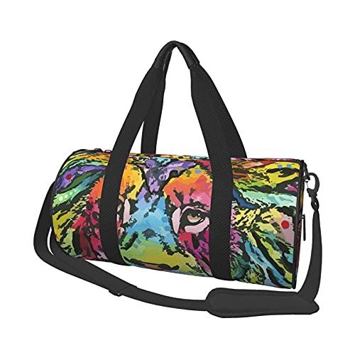 Borsone da palestra, con leone al neon rotondo, borsa da palestra leggera e resistente, con scomparto per scarpe e tasca bagnata, per donne o uomini