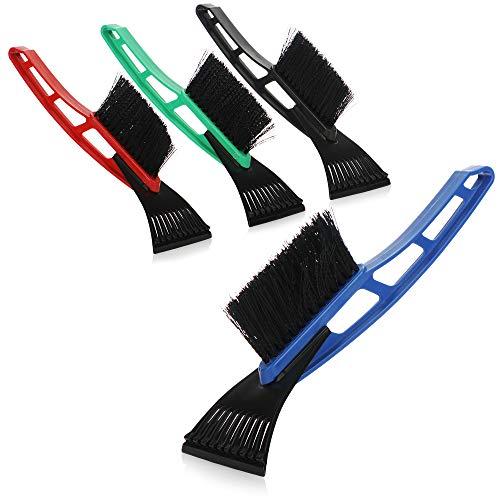 com-four® 4X Eiskratzer mit Besen in bunten Farben, Eisschaber, Scheibenkratzer [Auswahl variiert] (04 Stück - Eiskratzer mit Besen)