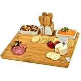 Picnic at Ascot Large Bamboo Cheese Board/Charcuterie Platter with 4 Stainless Steel Tools, 2 Ceramic Trays & Cheese Markers -16' x 13'- Designed & Quality Checked in USA