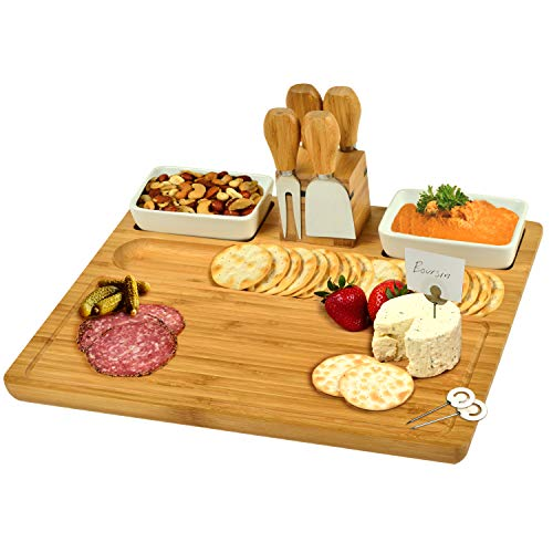 Picnic at Ascot Original Bamboo Cheese/Charcuterie Board with Ceramic Bowls, Cheese Tools & Cheese Markers-Designed & Quality Checked in USA