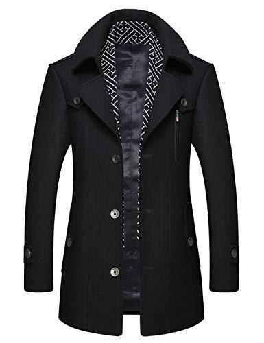 zeetoo Men's Wool Peacoat Winter Buttons Jacket Windproof Classic Pea Coat Black X-Large