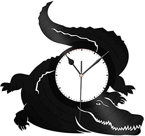 GONGFF Reloj de Pared de Vinilo Reloj de Vinilo de 12 Pulgadas Reloj de cocodrilo Creativo Decoración de Reloj Retro