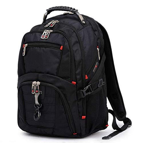 Msbir schoudertas mannen 17-inch laptoptas Oxford doek reistas studententas rugzak zwart diefstal casual rugzak brede rugzak voor mannen lichtgewicht laptop rugzak voor mannen carryon wandelen rugzak