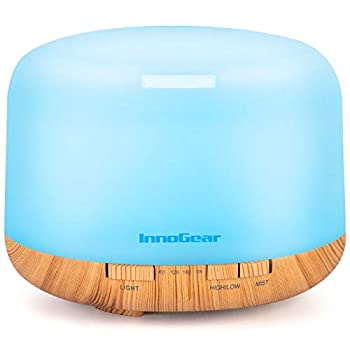 InnoGear Aromatherapy Diffuser 500ml Diffusers for Essential Oils Cool Mist Humidifier Aroma Essential Oil Diffuser with 4 Timers 2 Misting Modes Waterless Auto Off Large Yellow