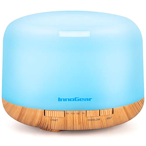 InnoGear Aromatherapy Diffuser, 500ml Diffusers for Essential Oils Cool Mist Humidifier Aroma Essential Oil Diffuser with 4 Timers 2 Misting Modes Waterless Auto Off, Large, Yellow