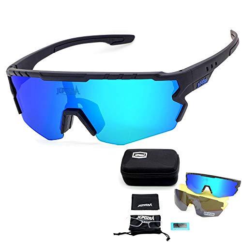 JEPOZRA Gafas Ciclismo Polarizadas, Gafas de Conducción de Medio Cuadro con 3 Lentes Intercambiables, Gafas de Protección UV para Montar Se Adapta al Esquí Correr Ciclismo,Deportes al Aire Libre 🔥