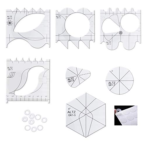 ALTZ Free Motion Quilting Templates for Machine Quilting - Includes 7 Quilt Templates, 15 Non-Slip Grips, 8 Marking Aids, and Guide - Acrylic Quilt Rulers for Domestic Sewing Machine