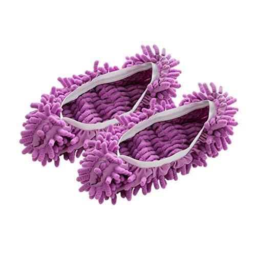 HEALLILY 3 Paare Mop Schuhe Microfaser Putzschuhe Putz-Hausschuhe für Haus Boden Staub Schmutz Haare Reinigung Bodenreiniger Schuhabdeckung 3 Farben