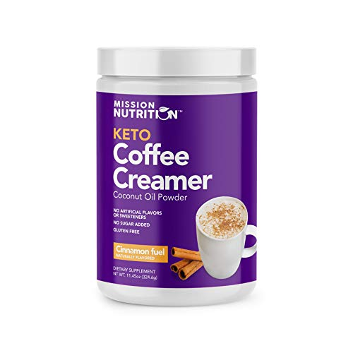 Mission Nutrition Keto Coffee Creamer - Low Carb (Zero Net), Sugar Free, Ketogenic, Gluten Free - Made with Coconut Oil Powder Sweetened with Stevia - 30 Servings (Cinnamon)