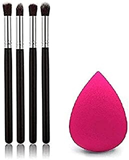 TYA GIRL 4 pcs Pro Makeup Cosmetic Tool Eye Shadow Foundation Blending Brush Black With Sponge Puff