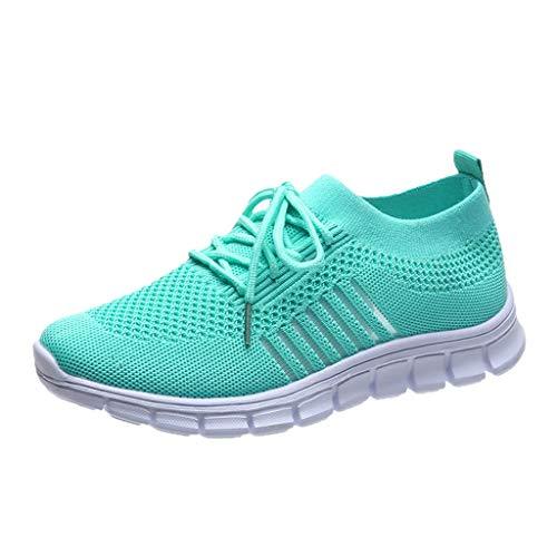 Xmiral Mesh Atmungsaktiv Sneakers Damen Einfarbige Schnür-Laufsportschuhe Joggingschuhe (39,Grün)