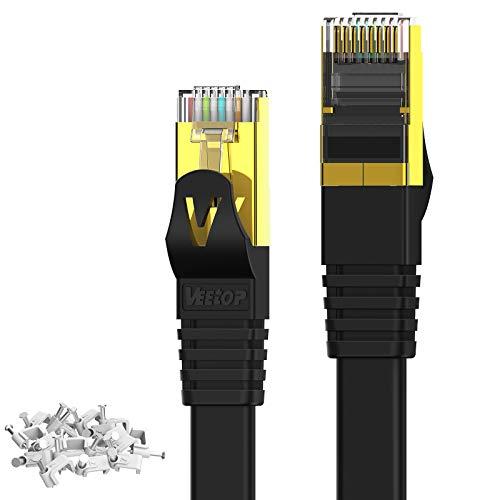 Veetop Cable Ethernet Cat 7 Lan de Red con Conectores Rj45 Oro Plano, Velocidad 10 Go/s - Negro (10m)