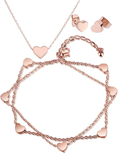 Valentinstag Geschenke Damen Armband Herzen Ohrringe Halskette Schmuckset, Doppelt Kette Armkette Herzanhänger Fußkettchen für Frauen Mädchen silber gold rosegold