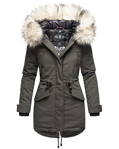 Marikoo Damen Winter Jacke Parka Mantel Winterjacke warm gefüttert B814 [B814-Lady-Anthrazit-Gr.XXL]