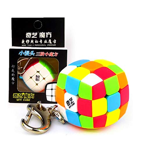 CuberSpeed Qiyi Mini 3x3 Keychain Cube stickerless 3cm Keyring Cube Mofangge Magic Cube Stickerless Keychain 3.0 Speed Cube
