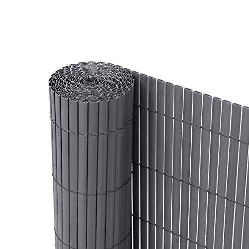 Ribelli® PVC Sichtschutzmatte Sichtschutzzaun Sichtschutz Zaun Balkon Windschutz (90 x 600 cm, Anthrazit)