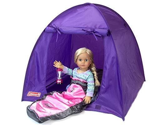 Sophia's Coleman Set para muñecas incluye tienda de campaña, saco de dormir y linterna, accesorios de camping Coleman con linterna de luz rosa, tienda desplegable púrpura y saco de dormir para muñecas