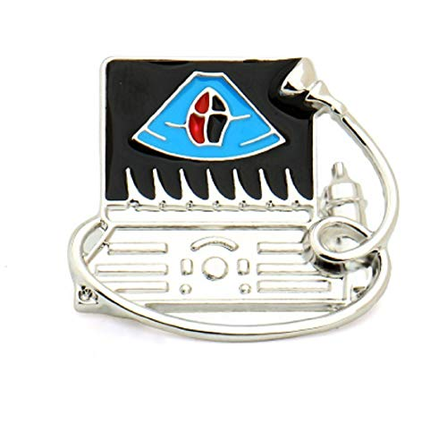 """FTH Ultrasound Doppler Cardiovascular,Fetal,Obstetric 1"""" Pin Brooch.Perfect for Nuclear Medicine Ultrasound Technologist,& Radiology.Nice for Your ID Badge or Lapel"""