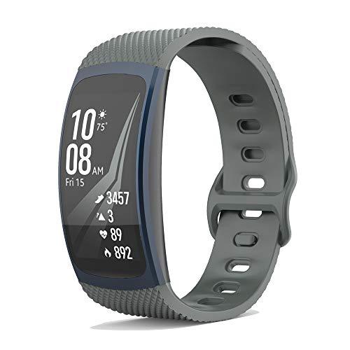 KINOEHOO Correas para relojes con Samsung Gear Fit2 SM-R360/Fit 2 Pro SM-R365 Pulseras de repuesto.Correas para relojesde silicona.(gris)