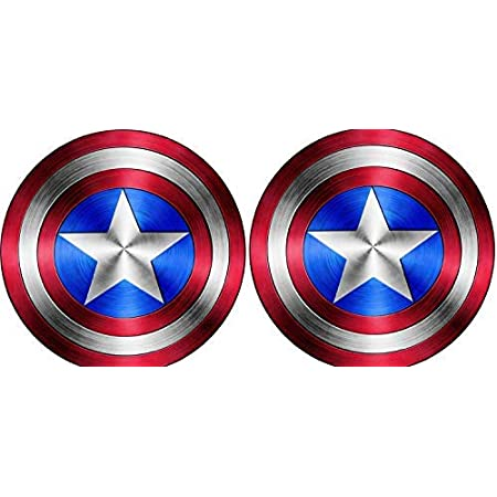 MacBook Mirror or Any Other Smooth Surface I Pad Value Pack of 2 for Laptop Motorcycle Car Windows Delzam Captain America Shield Vinyl Sticker Decal Walls