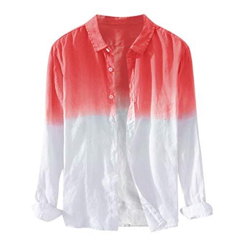 Men's Long Sleeve Shirt Hawaiian Cotton Linen Button Tee Tops Crewneck Gradient T-Shirts (XL, Red)