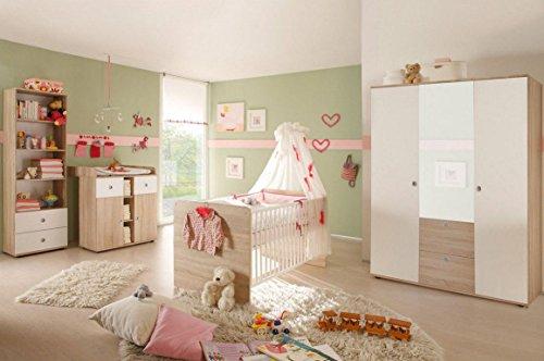 Babyzimmer WIKI 2 in Eiche Sonoma/Weiß - 4-tlg Babymöbel komplett Set mit grossem Schrank mit Spiegeltür, Babybett, Lattenrost, Regal und Wickelkommode mit Wickelaufsatz