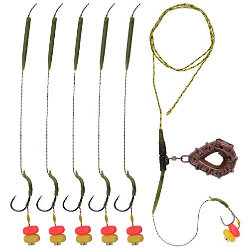 OROOTL Carp Hair Rigs Set, Boilies Bait with Curved Barbed Carp Hook, Braided Line, Carp Sinker Weight, Anti-tangle Sleeve, Corn, Tubing Handmade Fishing Terminal Tackle