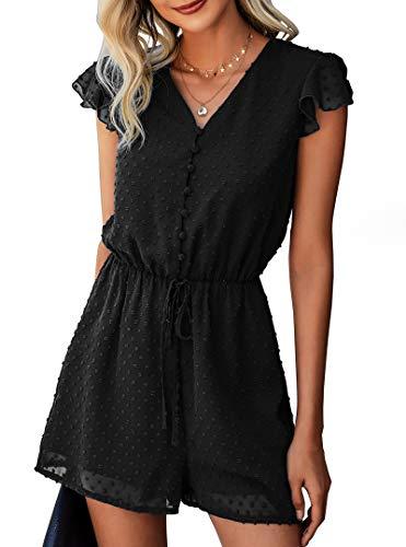 BTFBM Women Fashion Wrap V-Neck Swiss Dot Print Short Sleeve Elastic Waist Plain Summer Pockets Shorts Jumpsuit Romper (Button Black, Medium)