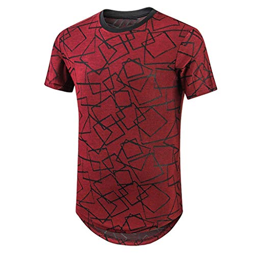 FRAUIT heren T-shirt met korte mouwen geometrisch patroon bedrukt shirt zomer vrije tijd basic T-shirt mode prachtige kleding blouse ademend zacht comfortabel hemd tops sport blouse kleding