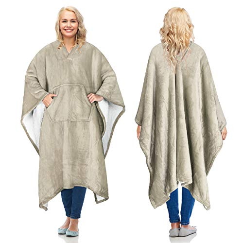 Catalonia Sherpa Wearable Blanket Poncho for Adult Women Men,Wrap Blanket Cape with Pocket,Warm,Soft,Cozy,Snuggly,Comfort Gift,No Sleeves,Camel