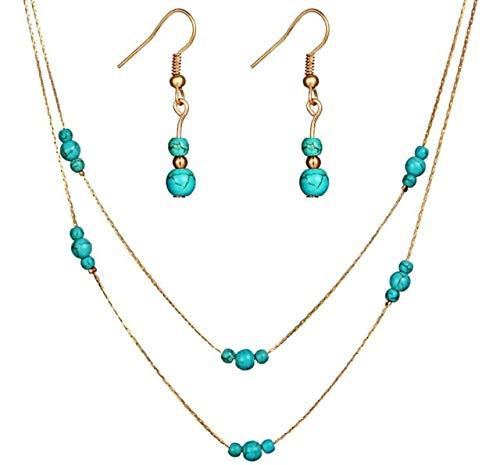 SALAN Boho Gold Color Indian Joyery Set Blue Turquesa Piedra Colgante Largo Cadena Collar Pendientes Colgando Pendientes para Mujeres