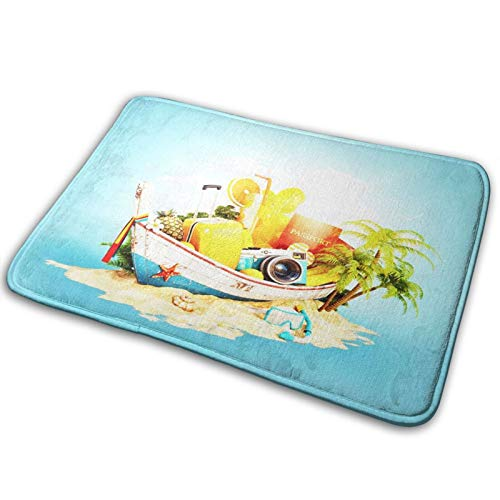 Bathroom Rugs Bath Mat Rendering Phuket Boat Suitcase, 16x24 Inch, Non-Slip Fluffy Soft Plush Shower Carpet Rug, Machine Washable Bath Mats for Tub, Bedroom, Floor