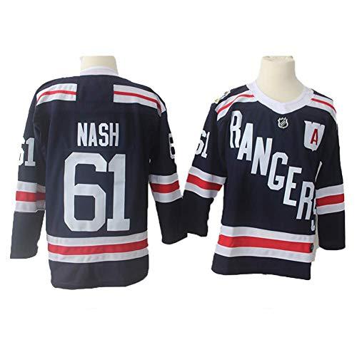 Yajun Rick Nash#61 New York Rangers Camisetas Hockey Jersey sobre Hielo NHL Hombre Ropa Respirable T-Shirt de Manga Larga,M