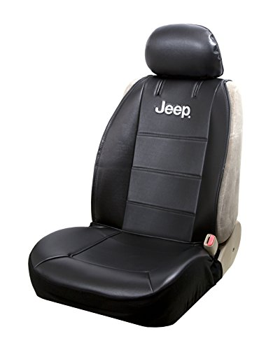 Plasticolor 008581R01 Jeep Logo Universal Fit Car Truck or SUV Sideless 2-Piece Seat Cover w/Head Rest,Black