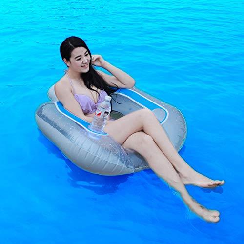 SHARESUN Zomer volwassen water opblaasbare stoel, pvc water drijvend met drank beker houder ligstoel en hangmat, drijvend water bed, drijvende boot, zwemring, 102 * 94cm