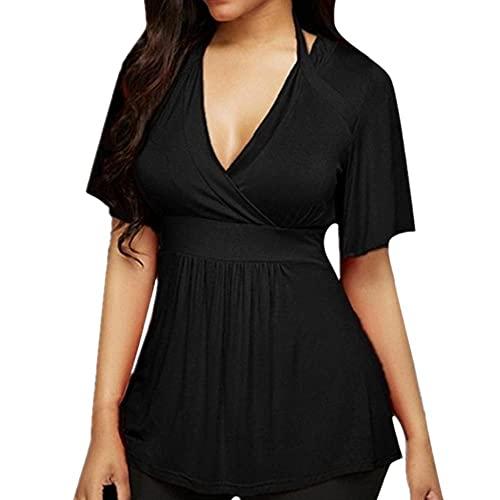 N\P Camiseta de manga corta con cuello en V para mujer de verano