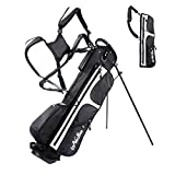 LONGCHAO Golf Bag for Men- Black White Stand Golf Bag Lightweight 4 Way Top - Detachable Cute Backpacks Removable Rain Hood,Hybrid Walking Golf Bag with Stand(White)