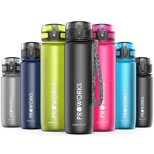 Proworks Trinkflasche, BPA Frei Tritan Wasserflasche Auslaufsicher, Fitness Flasche für Sport, Joggen, Radfahren, Wandern und mehr, Water Bottle 0.5 Liter (18oz) - Schwarz