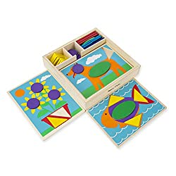 A perfect first manipulative! Includes 5 two-sided boards with 10 recessed design templates. Includes 30 geometric shape pieces. Complete the pictures or create your own designs! Packaged in a sturdy wooden storage box.