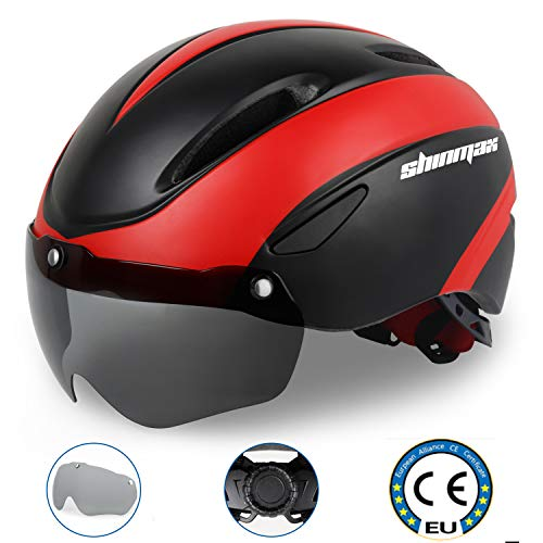 KINGLEAD kompatibel mit Fahrradhelmen, CE-zertifizierter Fahrradhelm mit verstellbarem Fahrrad und abnehmbarer Magnetbrille Visierschutz (schwarz rot) SavvyGrow