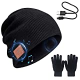 Bluetooth Beanie Hat + Touch Screen Gloves Gift Pack, Wireless Outdoor Sports Bluetooth5.0 Beanie Music Hat with Stereo Headphone Headset Mic Hands-Free Phones (Black)