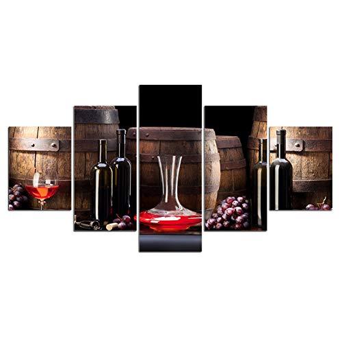 Gbwzz HD gedrukt 5 stuks canvas kunst wijnglas canvas rode wijn oude barrel druif en wijnfles kunst foto wandafbeeldingen voor keuken size1:20x35cmx2pcs,20x45cmx2pcs,20x55cmx1pcs ongeframed.