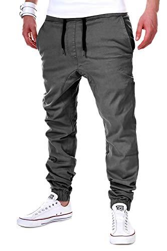behype. Herren Chino-Hose Stretch Low Crotch Basic Jeans-Hose 80-0006 Dunkelgrau S/W30