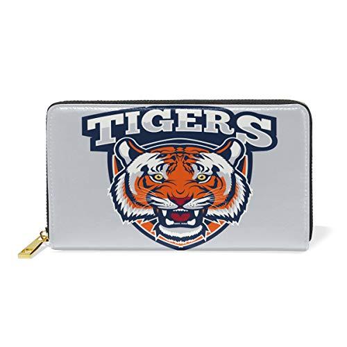 Heftiger tijgerprint dames portemonnee portemonnee grote echt leer portemonnee kaartsleuven organizer voor vrouwen en meisjes